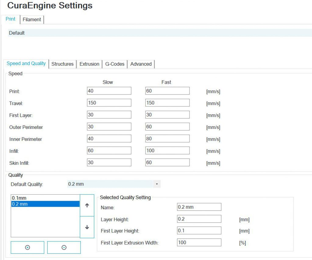 Speed and qulity settings CuraEngine